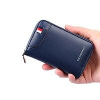 WILLIAMPOLO Men Wallet Car Key Case Key Holder Genuine Leather Double Zipper Credit Card Holder Organizer Multi Card Purse 2018