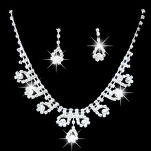 Necklace Earrings Bling-Jewelry-Set Rhinestone Bridal Wedding-Party Pendant Women's Romantic
