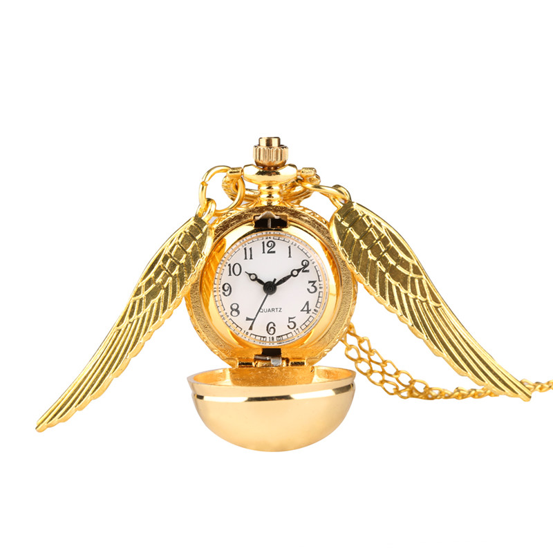 Купить с кэшбэком Elegant Golden Snitch Pocket Watch Alice In Wonderland Necklace Chain Pendant Watches Relogio Feminino