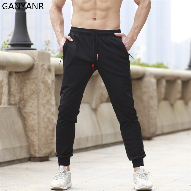 GANYANR Running Pants Men Sports Leggings Basketball Training Fitness Jogging Gym Athletic Football Sweatpants Workout Elastic цена