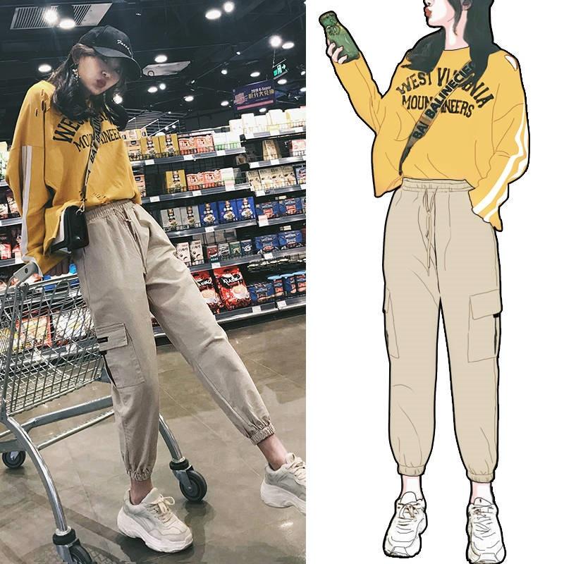 Casual Cargo Pants Women Fashion Khaki Joggers High Waist Loose Female Trousers Korean Style Ladies Pants Harajuku Pants Girls