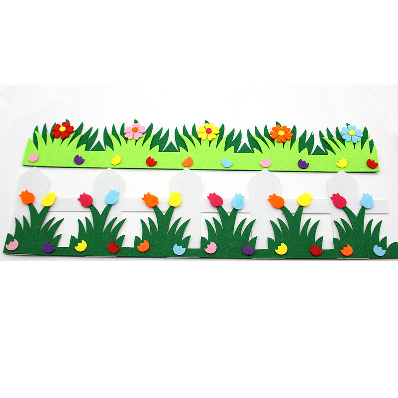 Flower Fence Felt Cloth Material DIY Free Cutting Cute Pendant Green Grass For Home Decoration Children Roon Decoration New Hot