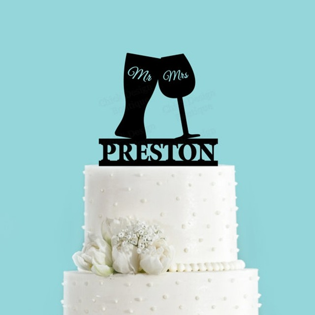 Custom Beer Wine Glass Toasting Wedding Cake Topper Personalized Mr Mrs