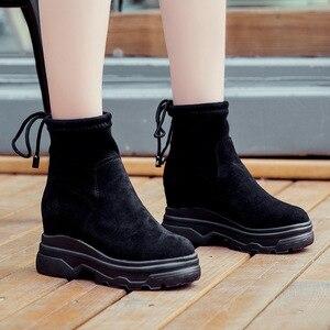 Image 3 - SWYIVY أسود أحذية رياضية النساء حذاء خفيف الظهر الدانتيل 2019 الخريف الإناث الكاحل عالية أعلى أحذية رياضية على منصة مكتنزة حذاء رياضة النساء
