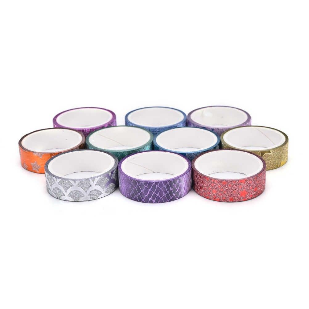 Peerless 10 Pcs DIY Kawaii Stripes Gold Glitter Bintang Jantung Jepang Kertas Foil Washi Kaset Masking Tape Scrapbooking Alat