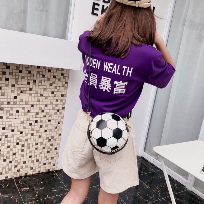2019 Basketball Football Shaped Shoulder Messenger Bag Purse Tote Mini Crossbody PU Handbag Adjustable Strap For Women Girls Men in Shoulder Bags from Luggage Bags