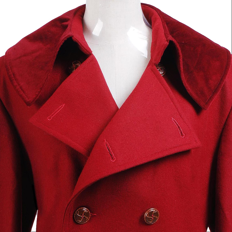 Doctor Who 4th Doctor Coat Cosplay Costume Long Red Wool Trench Fall Winter Outerwear Halloween Christmas Coat - 4