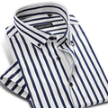 Brand New Classic Striped Shirt  Men Casual Cotton Short Sleeve  Fashion Formal Business Party Male Dress Shirt 4XL High Quality