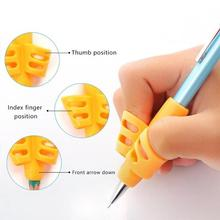 3Pcs Tools Two Finger Pencil Holder Ergonomic Non-toxic Writing Aid Grip Silicone Soft Training Posture Correction Children