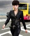 Free shipping ladies motorcycle short design PU outerwear jacket 41G3055