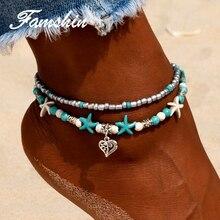 FAMSHIN Vintage Shell Beads Cinta Gelang Untuk Wanita Baru Multi Lapisan Gelang Kaki Kaki Gelang Handmade Bohemian Perhiasan Sandal Hadiah
