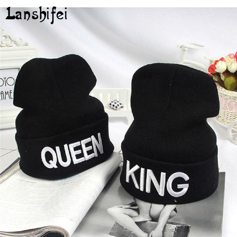 Newest King Queen letter embroidery Winter Hats For Women Men Bonnet Couple Hip Hop Sports Warm Knitted Cap Skullies Beanies холодильник side by side samsung rs 552 nrua1j