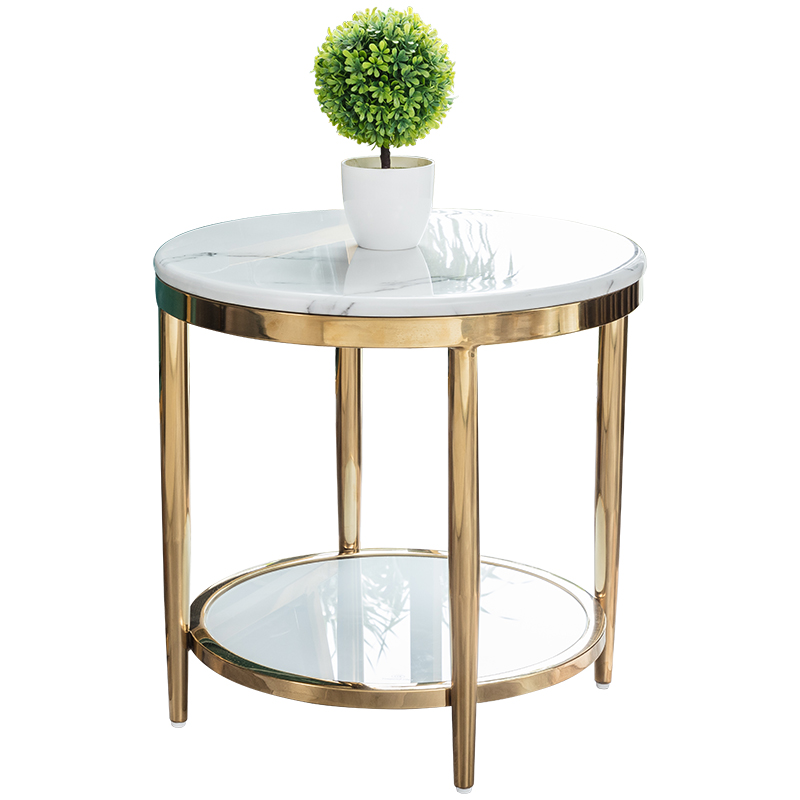 US $360.05 5% OFF|Postmodern minimalist stainless steel light luxury small  apartment American marble Nordic coffee table corner sofa side table-in ...