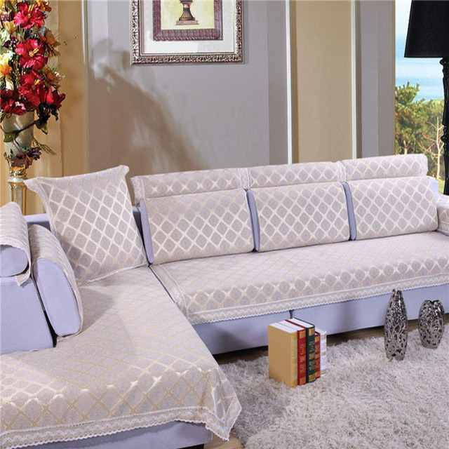 High Quality 100% Cotton Sofa Cover Europe Beige Sofa Covers Sectional Sofa Cover  Printed Slipcover Non Slip