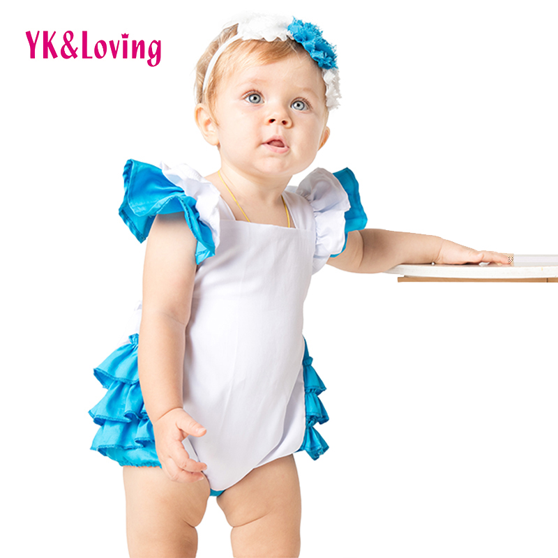 Ruffle Cotton   Romper   for Kid Novelty Costume Lolita Dress Maid Cosplay Clothes 2pcs Outfit Alice in Wonderland Original Design A