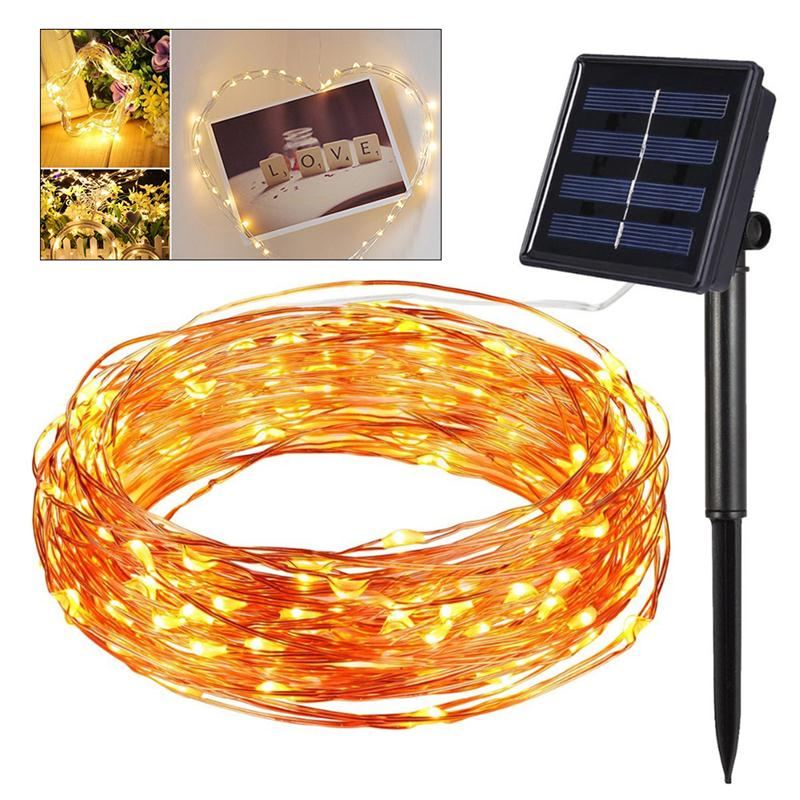 10m 100 LEDs Copper Wire Solar String Lights for Christmas Wedding Outdoor Decoration (Multicolor Light)