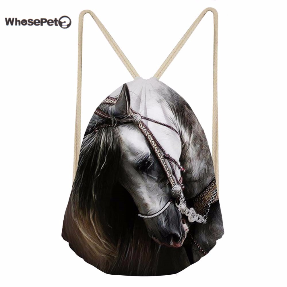 WhosePet 3D Crazy Horse Printing Shoulder Backpacks Draw String Backpack Bag Small  for Women Men Daily Bags Teens Schoolbag