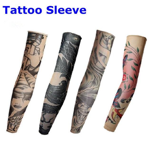 5pcs Nylon Stretchy Temporary Tattoo Sleeves Arm Stockings Sunscreen Arm Warmers Fake Tattoo JT083