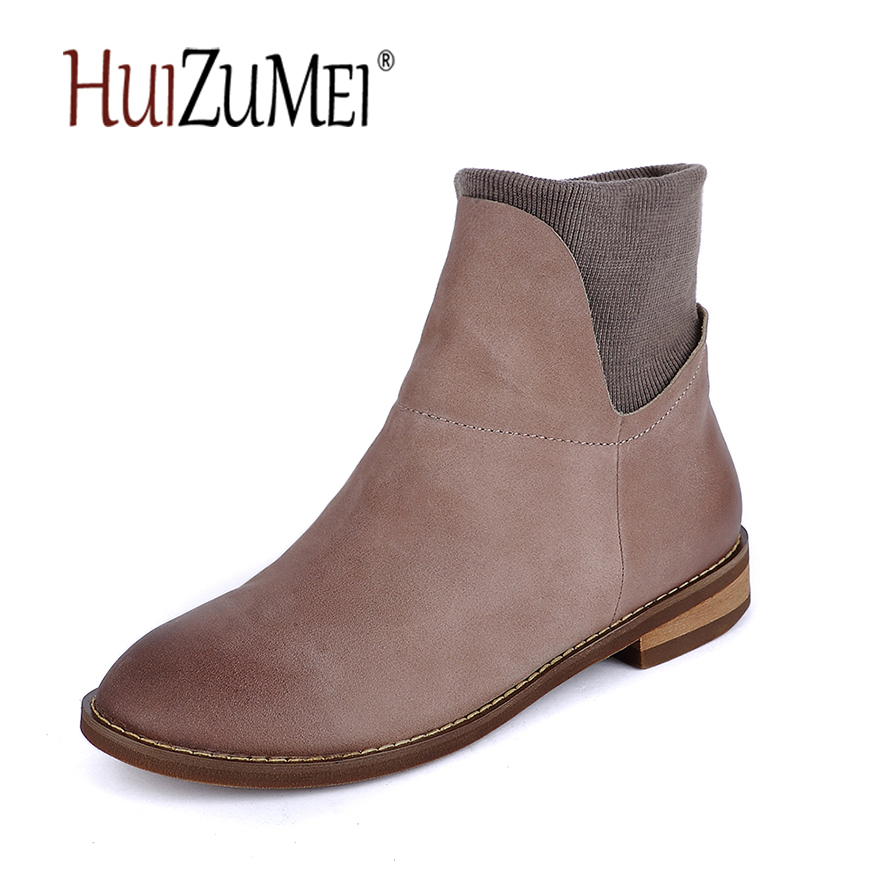 HUIZUMEI genuine leather ladies boots winter new casual flat single boots women's ankle boots round toe martin boots y s 2016 new mens casual desert boots mans genuine leather flat shoes adults round toe ankle chukka adults quilted boots y 100
