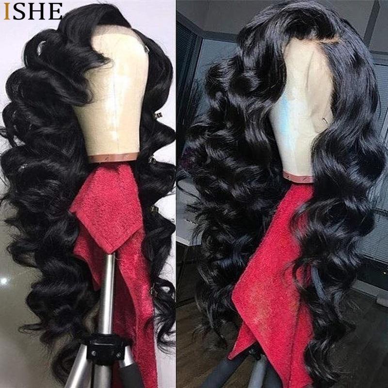 Peruca 250 corpo solto de alta densidade, 13x6 frontal profunda remy cabelo humano pré-selecionado linha fina longa extremidade completa preta para mulheres