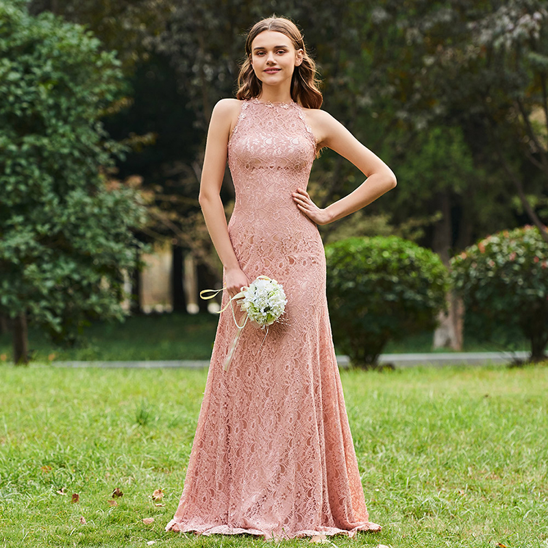 Tanpell sheath long   bridesmaid     dress   pink sleeveless floor length gown women lace wedding party plus customed   bridesmaid     dresses