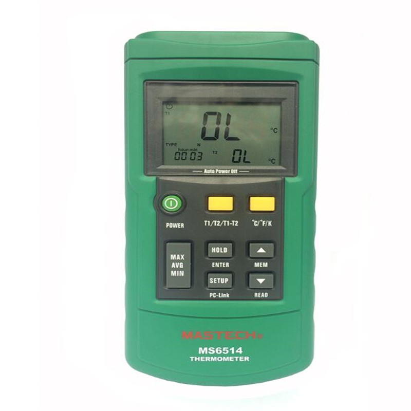 MASTECH MS6514 Dual Channel Digital Thermometer Temperature Logger Tester USB Interface 1000 Sets Data KJTERSN Thermocouple mastech ms6514 dual channel digital thermometer temperature logger tester usb interface 1000 set data k j t e r s n thermocouple