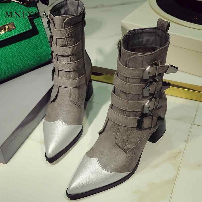 MNIXUAN ฤดูใบไม้ผลิฤดูใบไม้ร่วงสแควร์รองเท้าส้นสูงข้อเท้าผู้หญิงฤดูหนาว mellisa lady block ส้นรองเท้าสั้น 2019 ใหม่ขนาดใหญ่ขนาด 10 43