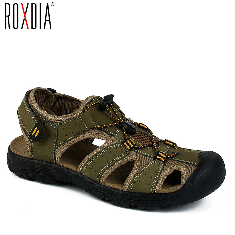 ROXDIA Summer  New Fashion Breathable Causal Men Sandals Genuine Leather Beach Shoes Men Shoes Plus Size 39-47 RXM005