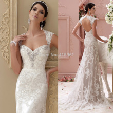 Vestido de Casamento 2015 Romantic Sweetheart Beads Lace Mermaid Wedding Bridal Dress Gowns Open Back W3572