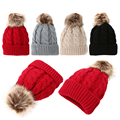 Women Winter Warm Braided Crochet Knitting Hat Girls Beret Ski Beanies Wool Ball Cap  Ski Cap Caps Knit Pom Bobble Hat DM#6