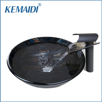 KEMAIDI Hand Paint Vessel Washbasin Tempered Glass Basin Sink With Waterfall Faucet Taps Water Drain Bathroom