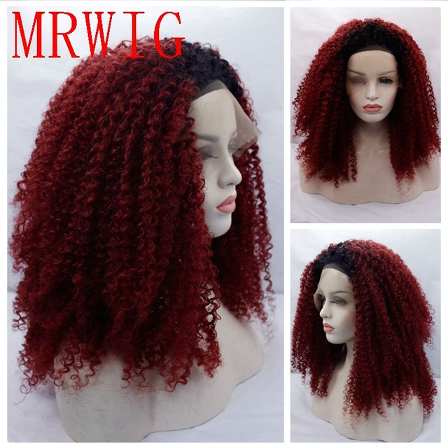 Mrwig 20in Free Part Afro Kinky Curly Synthetic Ombre Burgundy Front