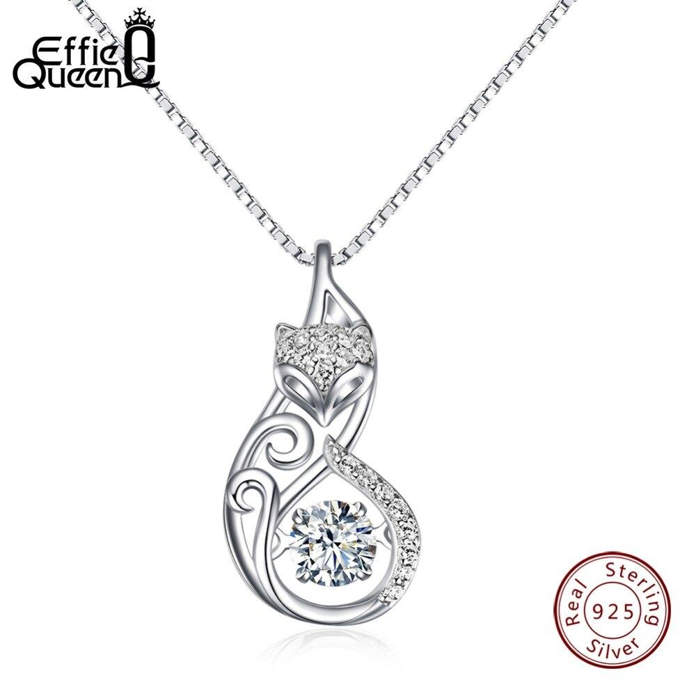 Effie Königin Kristall Frauen S925 Sterling Silber Halsketten Nette Fox Anhänger Halskette für Frauen Dame Mädchen Schmuck Beste Geschenk BN53