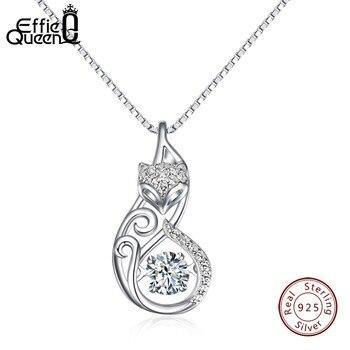 51245ba16661 Effie reina de cristal de las mujeres S925 collares de plata esterlina de  Fox zorro lindo colgante de collar para las mujeres dama de joyas de niña  mejor ...
