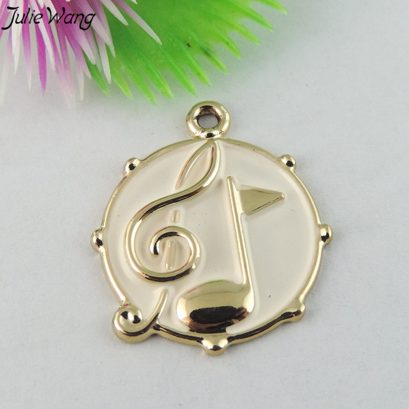 White Red Enamel Musical Notes little Pendant Charm Music Jewelry 1