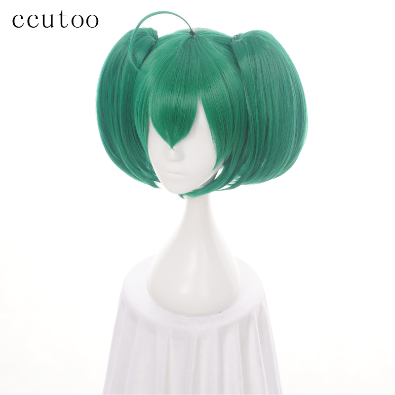 Ccutoo 35cm Ranka Lee Green Short Straight Base Body Synthetic Hair Cosplay Wigs Chip Ponytails Heat Resistance Fiber