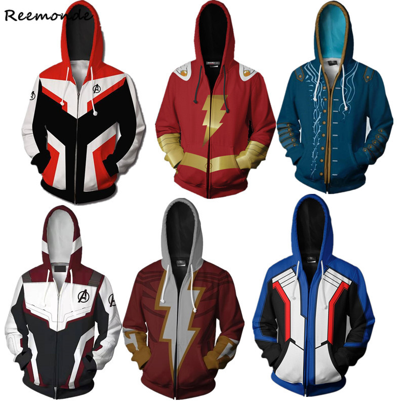 Avengers Endgame Captain Marvel Shazam Cosplay Costume Star Trek Billy Batson Hoodies Sweatshirts Sports Coat Jacket Men Women