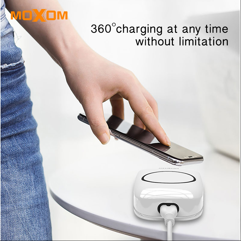 MOXOM Wireless Charger 5 Port Fast Charger Wireless Mobile Phone Charger AUTO ID EU Plug Charger For iPhone Samsung Xiaomi mobile phone
