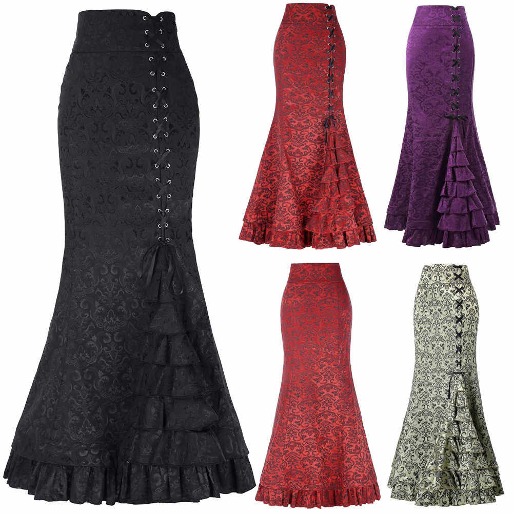 Vintage Victorian Pattern Mermaid Long Skirt Lace Up Ruffles Fishtail  Bodycon Maxi Skirt Gothic Skirt Women 996082ff4412