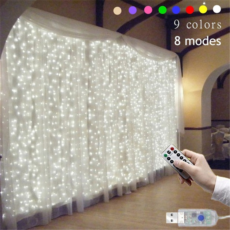 3Mx3M 300 LED 9 Colors Lights Romantic Christmas Wedding Decoration Outdoor Curtain String Light Remote-control 8 Modes USB Lamp