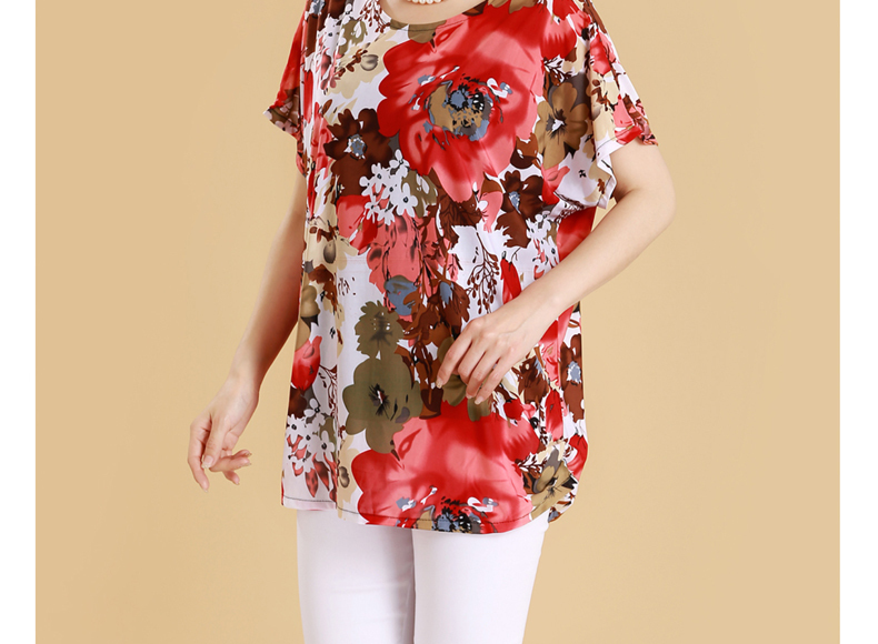 HTB17Eb4iviSBuNkSnhJq6zDcpXal XL 5XL Women Summer Style Casual Blouses Flor Clothing Plus Size Short Sleeve Floral Blusas Shirt Women's Tops Russia 56