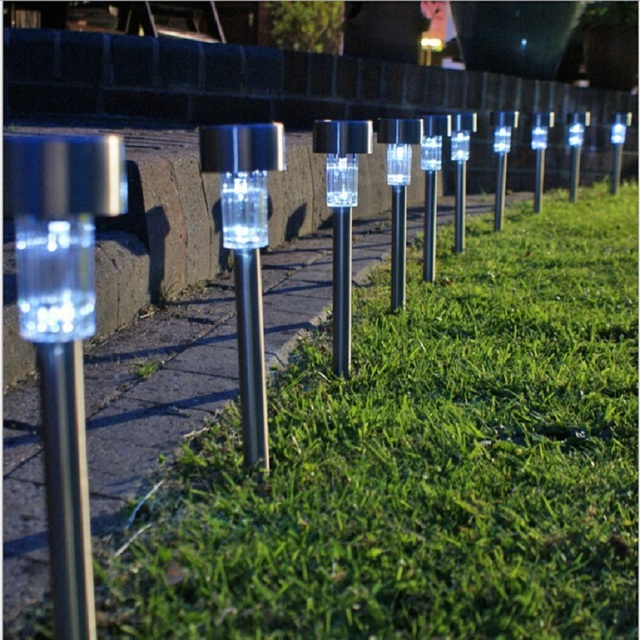 Oubell Brand 10pcs Stainless Steel Solar Energy Garden Lawn Panel Led Lamp Outdoor Lighting Landscape