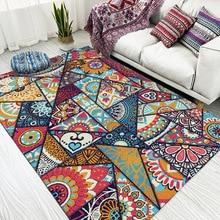 National style Geometric color splice Mandala carpet Bedroom Bedside rug living room kitchen floor mat non slip plush Door mat