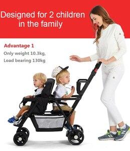 Image 4 - Seebaby Fold Twins 베이비 유모차 Double Pram Two Seat Can Stand/신생아 아기와 어린이 캐리지 유모차