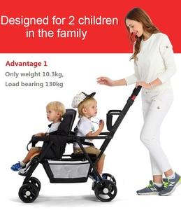 Image 4 - Seebaby pli jumeaux bébé poussette Double landau deux sièges peut se tenir debout/sasseoir nouveau né bébé et enfants landau poussette
