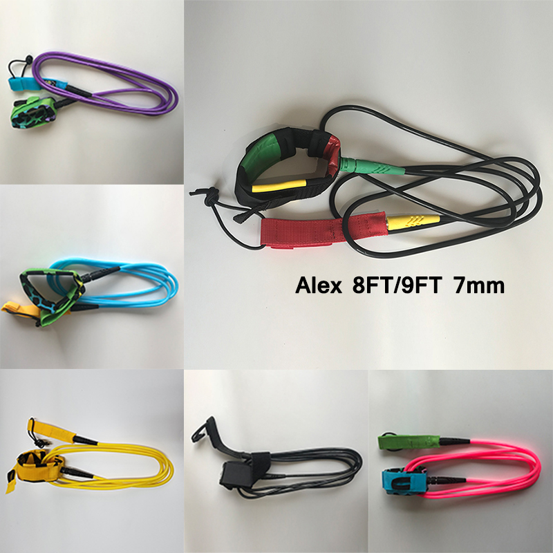 8ft/9ft 7mm SURFING SURFBOARD LEASHes /Polyurethane Nylon Cuff & Swivel Joints Wholesale - Surfboard Leash surfing Leash