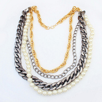 Beautiful Natural Color Pearl Beads Necklace Multi Layer Alloy Chain Necklace Pendant Women Fashion Statement Jewelry