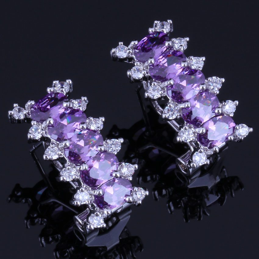 Resplendent Rectangle Purple Cubic Zirconia White CZ 925 Sterling Silver Clip Hoop Huggie Earrings For Women V0912