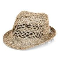 Summer Hollow Straw Crochet Fedoras with Curled brim Strap Handmade Sunscreen Beach Hat Weed Vintage Panama Grass Jazz Octagonal