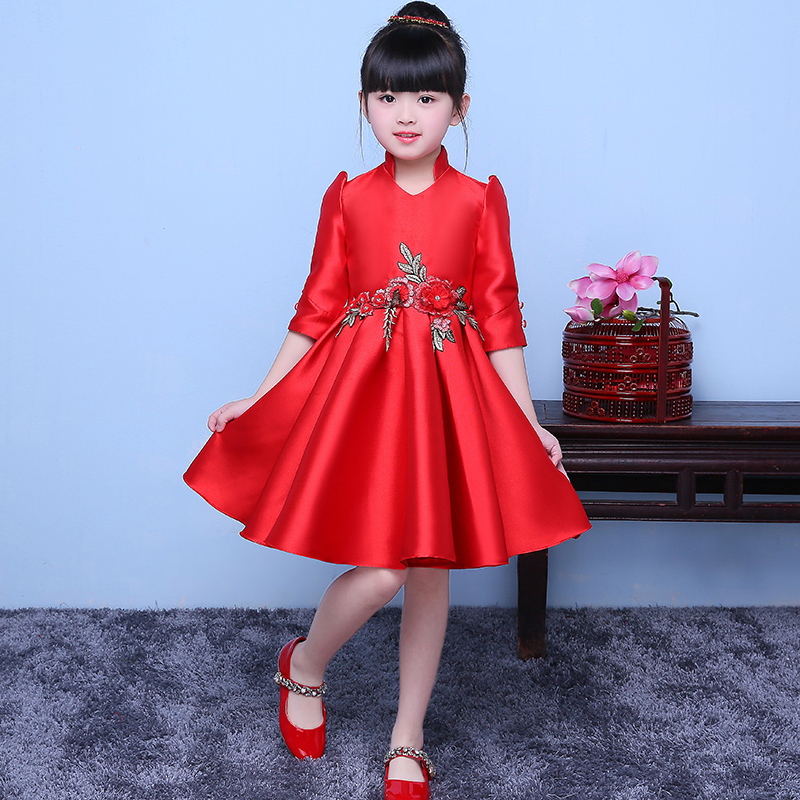 Red Embroidery Chinese Style Traditional Dress Children Cheongsam Girl Costumes Suit Flower Host Guzheng 7 Points Sleeve Qipao